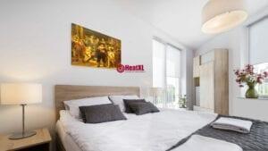 schilderij met infrarood paneel boven het bed design verwarming